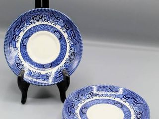 6 Pc Churchill England Willow Blue Saucers
