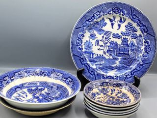 8 Pc Antique Semi Vitreous Buffalo Pottery 1910 and House of Blue Willow Japan