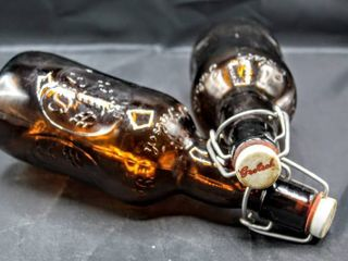 2  Collectible Vintage Amber Grolsch Bottles
