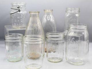 8 Pcs Vintage Jars   Bottles   Atlas E Z Seal with Wire Bail  Kerr  Ball and  2  Vintage Milk Bottles