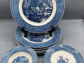 18  Pieces Currier   Ives The Old Geist Mill  5  5 75  Bowls   7  6  Plates   6  10 5  Plates
