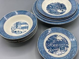 13  Pieces Currier   Ives  5  6 25  Bowls   4  6 25  Plates   1  9  Maple Sugaring Bowl   2  8 5  Early Winter Bowls   1  10  Bowl