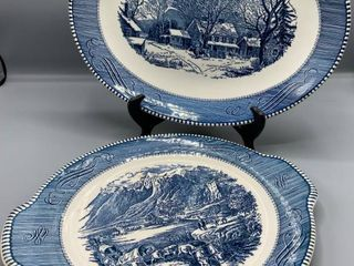 2  Currier   Ives Royal China Platter Tab Handle Cake Plate  The Rocky Mountains  and  Old Inn Winter  Platter