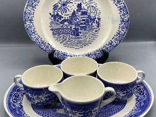 6 Pc Vintage Blue Willow China    2  Platters   3  Cups   1  Creamer