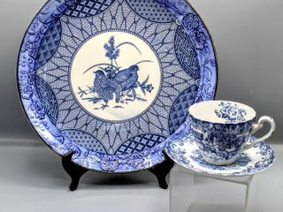 Beautiful Blue   White Porcelain China 12  Platter with Quail and  Hunting Country  Coaching Scenes by Johnson Bros  Ironstone Teacup and Saucer