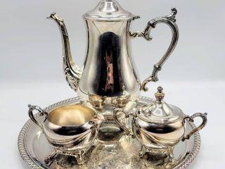 Vintage WM Rogers Silver Plated Tea Set   Sugar Bowl Creamer Serving Tray