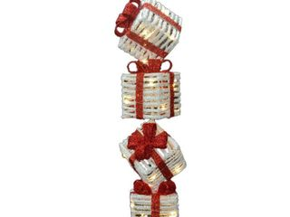 National Tree Company Outdoor lighted Christmas 33in Sisal Gift Box Tower Retail 95 49