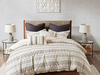 Ink   Ivy 3pc King California King Rhea Cotton Comforter Mini Set Ivory Charcoal