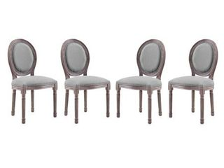 Emanate Dining Side Chair Upholstered Fabric light Gray Set of 2