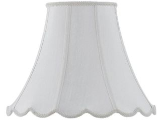 Vertical White Piped Scallop Bell Shade