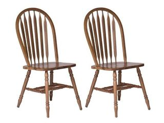 Two Antique Honey Finish Dining Chairs