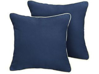 Humble   Haute Sunbrella Canvas Navy w  Canvas Natural Indoor Outdoor Corded Pillow Set of 2 Retail 88 99