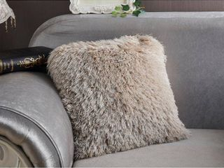 Decorative  Shaggy Pillow in Beige  18 in x 18 in