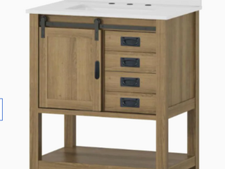 Style Selections Vanity w  Top Rustic Brown Finish  1505051  30inx20inx34 5in
