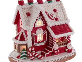 Multi Kurt Adler 9 Inch Red and White Santa and Mrs  Claus Gingerbread House Retail  98 99