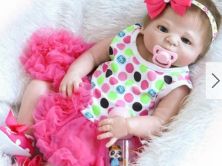 Kids   23  Beautiful Full Simulation Silicone Baby Girl Reborn Baby Doll in Dress