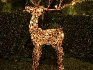 Brown   Alpine Corporation Rattan Reindeer with Halogen   lights  35 Inch