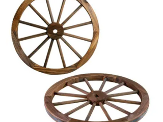 The Gray Barn Zephyr Grange Wooden Wagon Wheel with Rustic Finish  Set of 2