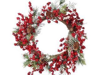 22  Snow Waterproof Berry Spruce Wreath