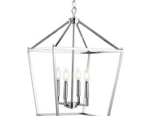 Pagoda 16  4 Bulb lantern Metal lED Pendant  Chrome by JONATHAN Y Retail 190 73