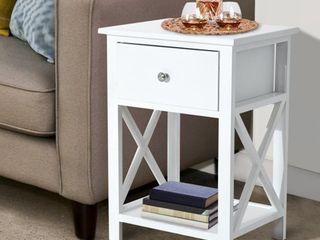 HomCom X Side Wood End Table   Nightstand w  Drawer   15 5 l X 12 W X 22 H