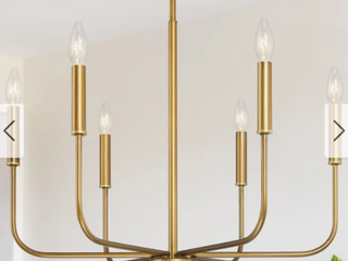 D 24 5    H 19 2    Gold   Mid Century 6 lights Candle Chandelier Brass Gold Hanging Pendant lighting for Kitchen Island Retail 203 99