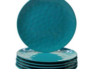Teal   6 Piece  Certified International Teal Melamine Dinner Plates  Set of 6