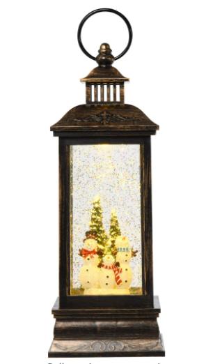 Snow Men Family and Tree HOMCOM Christmas Snow Globe Water lantern Music Box with light  Holiday Novelty Decorations