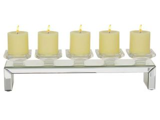 Clear   Rectangular Crystal Glass 5 Pillar Candle Holder With Mirrored Base 20 x 4 x 5 Retail 77 98