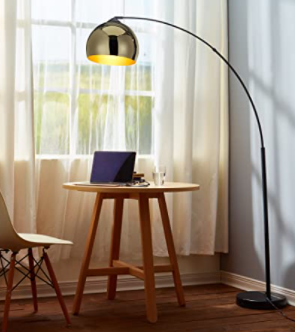 Versanora   Arquer Arc Floor lamp With Rose Gold Finished Shade And Black Marble Base  Retail 119 98