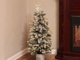 PVC Pre lit Clear lED 3ft Porch Artificial Flocked Tree with Base