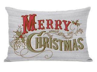 Accent   Polyester   White   Single   Retro Merry Christmas   White Multi 14x20 Throw Pillow by OBC