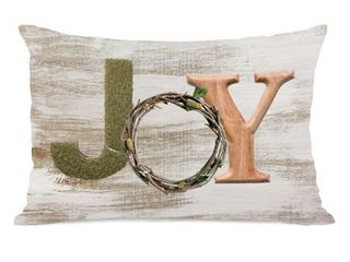 Accent Polyester Multi Color Single Deco Words Joy Tan 14x20 Throw Pillow by OBC