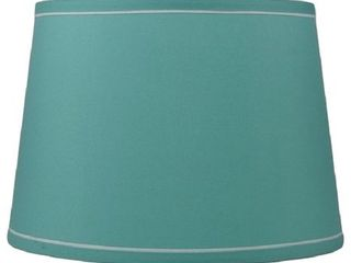 Teal   French Drum With White Trim lampshade  10 inch Top  12 inch Bottom  8 5 inch Slant
