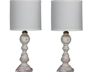 White   Fangio lighting s 6241CAW 2PK Pair Of 26 in  Distressed Balustrade Resin Table lamps in a Cottage Antique White Finish   Retail 99 99