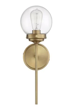 Clear Metallic   Brass   Carbon loft Guillotin 1 light Wall Sconce