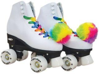 Adult 09   Epic Allure Twilight Rainbow lED light UP White Nylon High top Quad Roller Skates