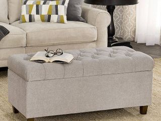 Ainsley Button Tufted Storage Bench   Silver Ash   HomePop