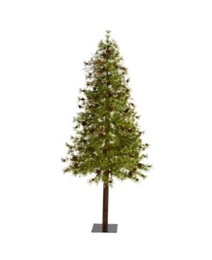 Nearly Natural Wyoming Alpine Artificial Christmas Tree with 200 Clear Multifunction led lights and Pine Cones On Natural Trunk