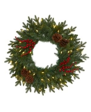 Nearly Natural Pine Artificial Christmas Wreath with 50 Warm led lights  Berries and Pine Cones