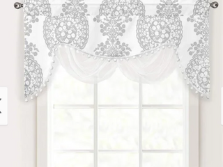 Grey The Curated Nomad Alameda Floral Damask Medallion Pattern Swag Valance 28  width x 52   length