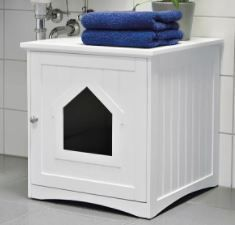 Trixie Pet Products Wooden Cat Home and litter Box   White