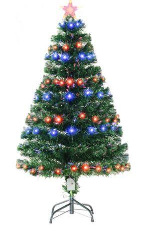 HomCom  Artificial Holiday Pre lit Fiber Optic Tree