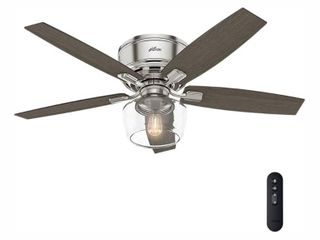 Hunter Fan 17 x 27 7  x 9 4  Bennett with Handheld Remote led lighted Ceiling Fan Brushed Nickel