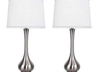 Brushed Nickel   Copper Grove Uzhhorod Plated Table lamps with Off white linen Drum Shades  Set of 2  Retail 98 99