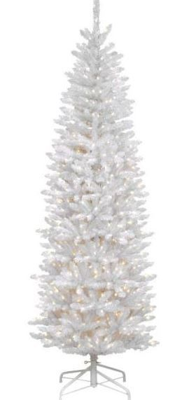 National Tree  KWW7 300 70  Kingswood White Fir Hinged Pencil Tree with 300 Clear lights  7 Feet