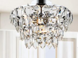Chrome  Bianca 4 light Chrome Flush Mount with Clear Crystal Drops  Retail 133 49