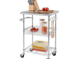 TRINITY EcoStorage Chrome Color 24 in  Stainless Steel NSF Kitchen Cart  EcoStorage Chrome color