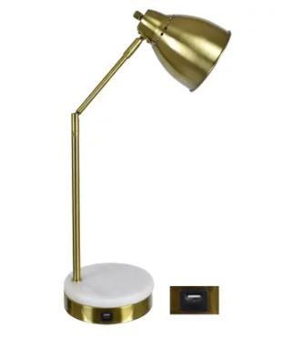 Evolution   liam 20 25H Marble USB Task lamp   White and Gold