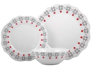 Melange 608410091436 12 Piece 100  Dinnerware Set for 4 Christmas Collection Grey Holly Shatter Proof and Chip Resistant Melamine Dinner Plate  Salad Plate   Soup Bowl  4 Each  10 5  White